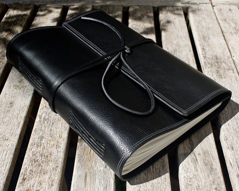 A4 rugged black leather journal - wraparound - earthworks journals - A4W004