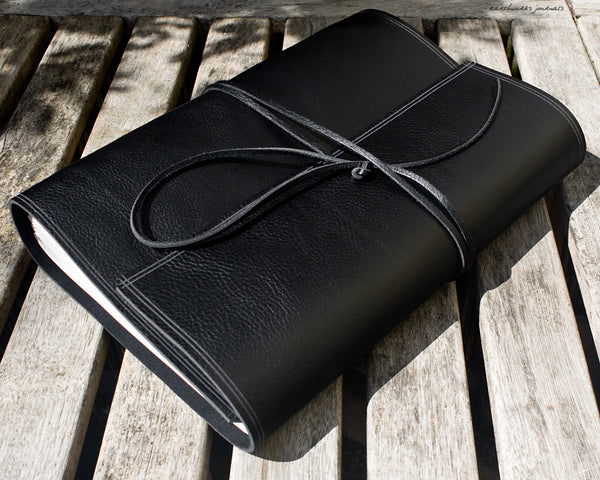 A4 rugged black leather journal 2 - wraparound - earthworks journals - A4W004