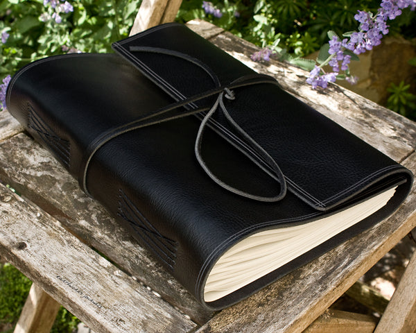 A4 rugged black leather journal 3 - wraparound - earthworks journals - A4W004
