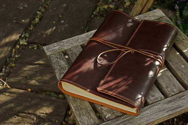 A4 rugged chestnut brown leather journal - wraparound - earthworks journals - A4W002