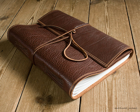A4 rugged chestnut brown leather journal - wraparound 3 - earthworks journals - A4W002
