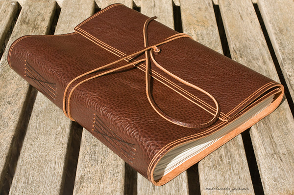 A4 rugged chestnut brown leather journal - wraparound 4 - earthworks journals - A4W002