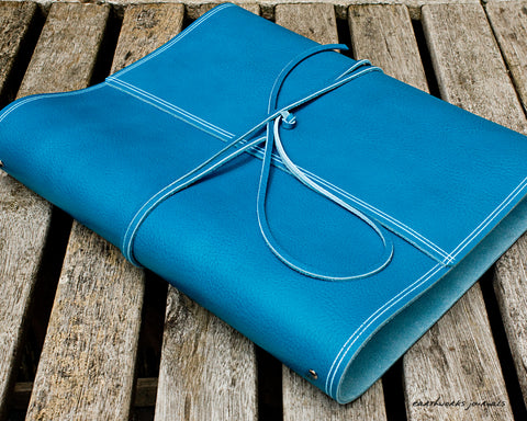 A4 rugged sky blue leather ring binder - wraparound - earthworks journals - A4WB005