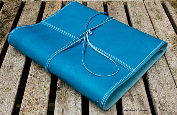 A4 rugged sky blue leather ring binder 2 - wraparound - earthworks journals - A4WB005