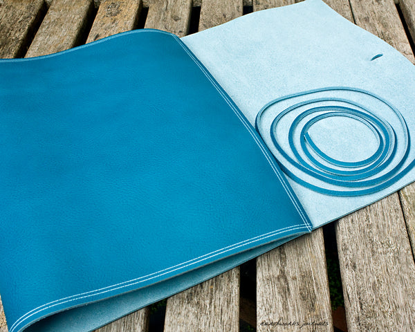 A4 rugged sky blue leather ring binder 3 - wraparound - earthworks journals - A4WB005