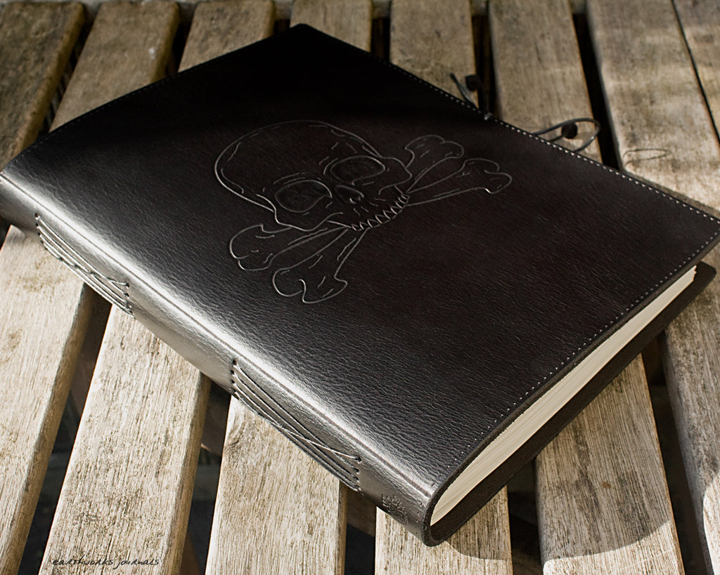 A4 black leather journal - ship's log - skull and crossbones design - earthworks journals A4C015