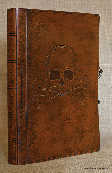 A4 brown leather journal - skull and crossbones design 2 - earthworks journals A4C016