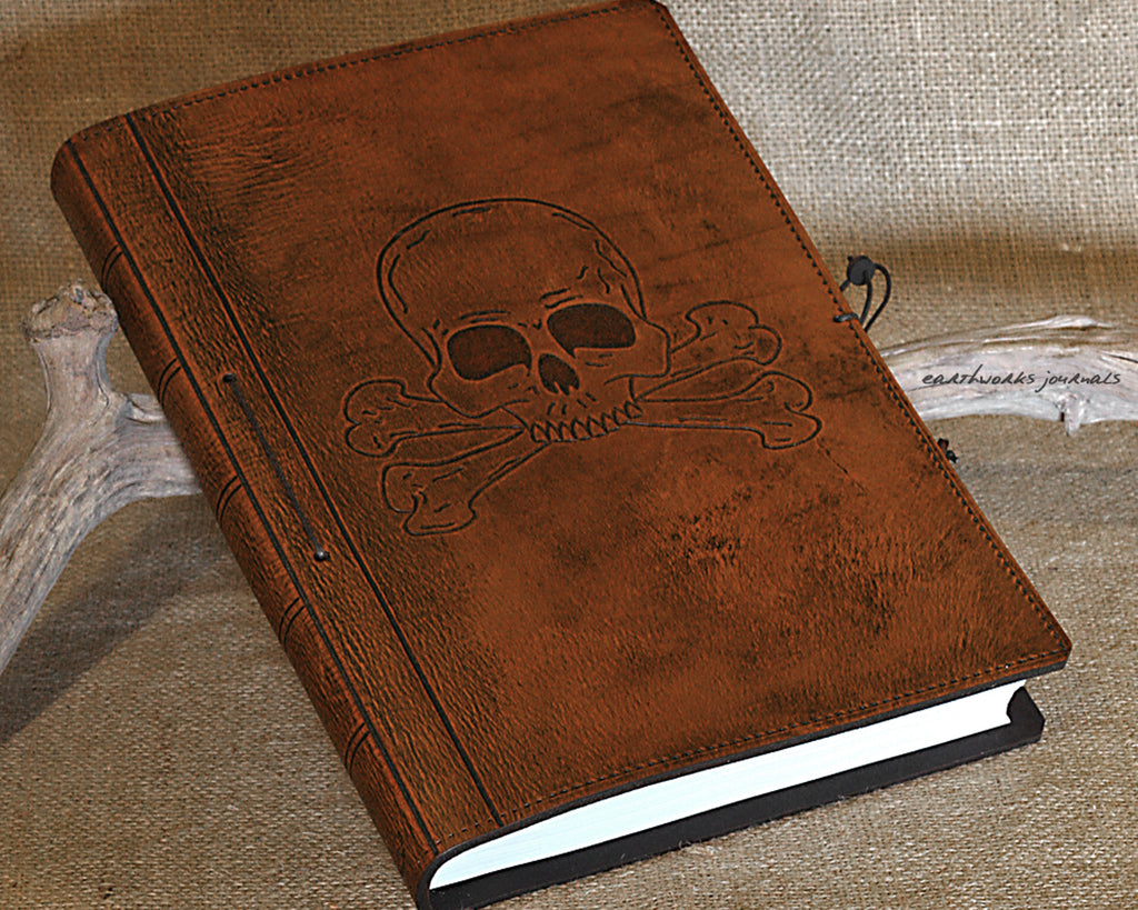 A4 brown leather journal - skull and crossbones design - earthworks journals A4C016