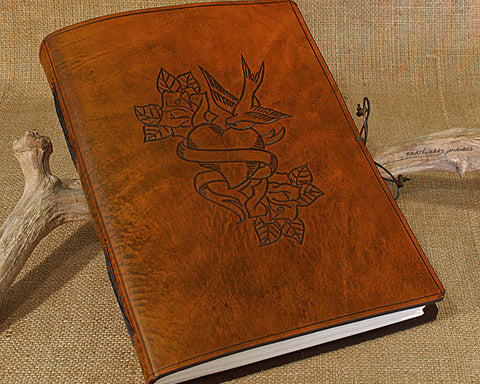 A4 brown leather journal - wedding guestbook - swallow, heart, rose tattoo design - earthworks journals A4C017