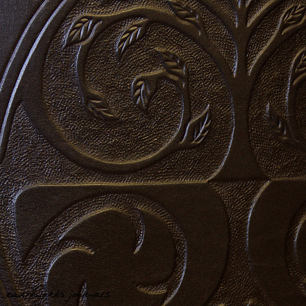 A4 black leather journal - tree of life detail - earthworks journals - A4C011