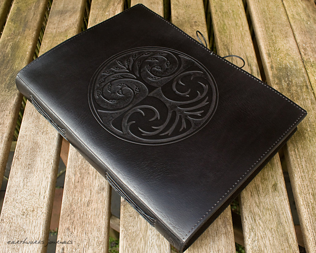 A4 black leather journal - tree of life - earthworks journals - A4C011
