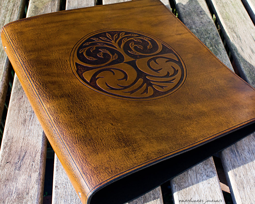 A4 brown leather 4 ring binder - tree of life design - earthworks journals A4B006