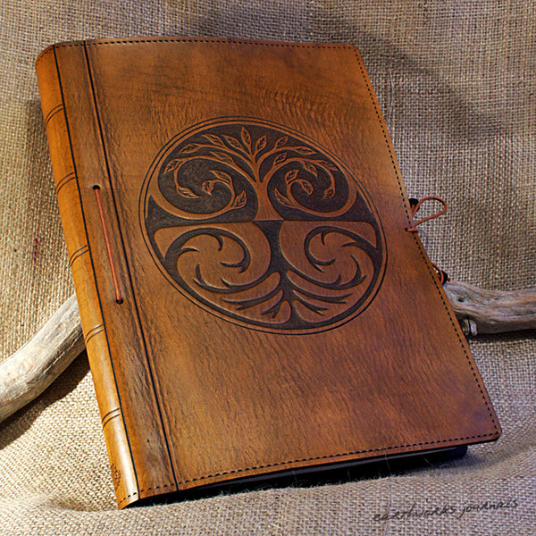 A4 brown leather journal - tree of life design 3 - earthworks journals A4C002