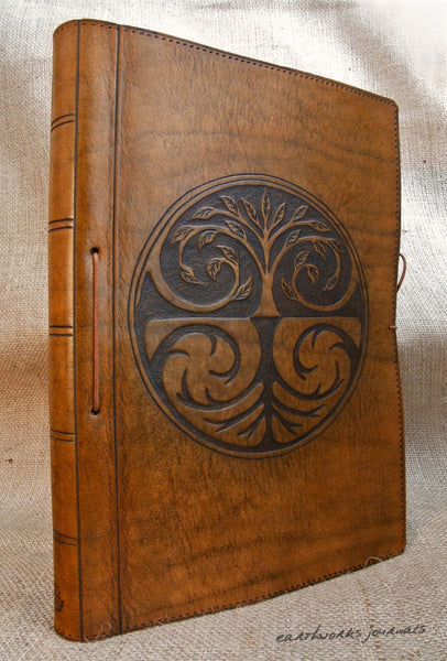 A4 brown leather journal - tree of life design 4 - earthworks journals A4C002