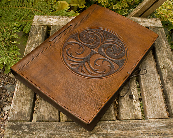 A4 brown leather journal - tree of life design 2 - earthworks journals A4C002
