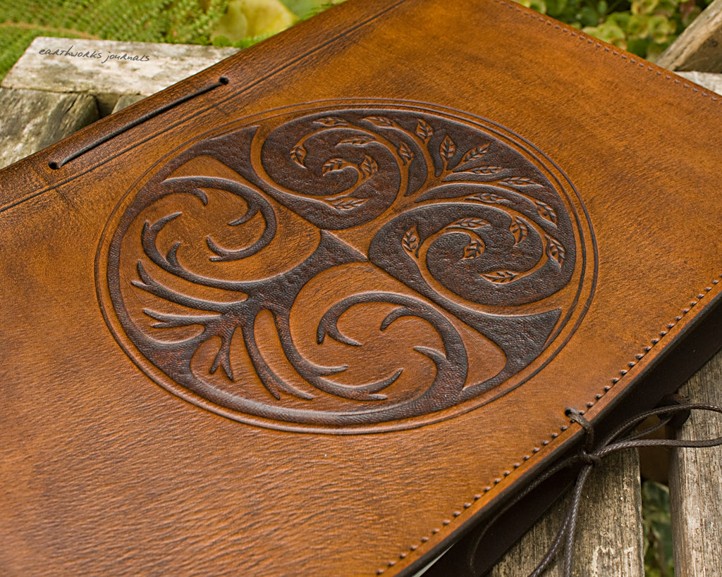 A4 brown leather journal - tree of life design - earthworks journals A4C002