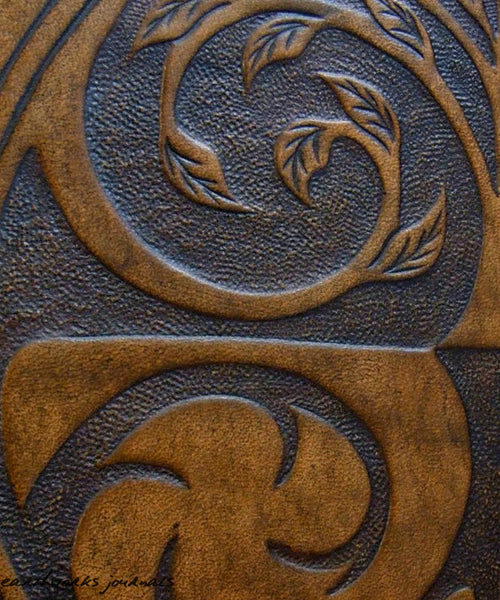 A4 brown leather 4 ring binder - tree of life design detail - earthworks journals A4B006