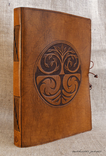 A4 brown leather journal - tree of life design 3 - earthworks journals A4C005
