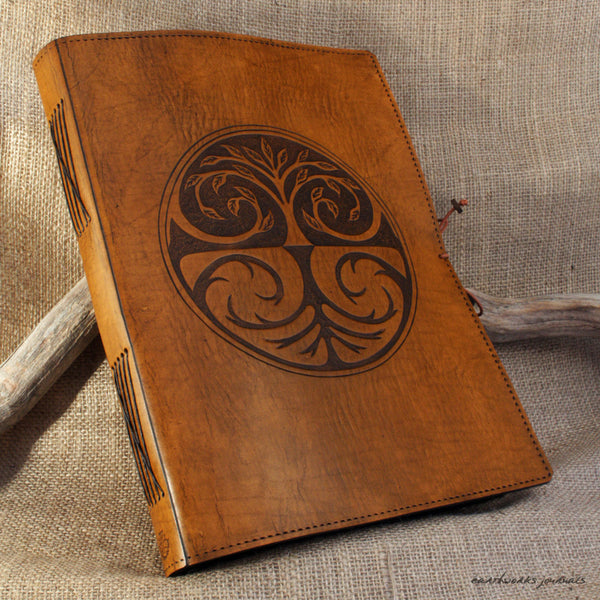 A4 brown leather journal - tree of life design 2 - earthworks journals A4C005