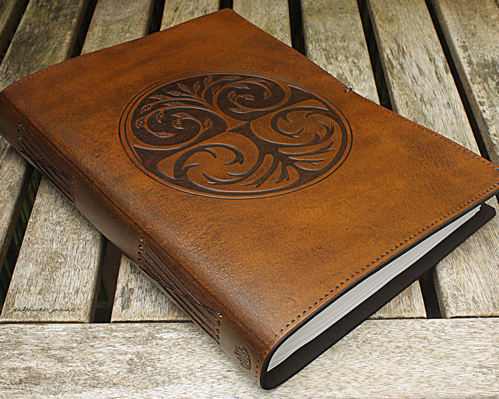 A4 brown leather journal - tree of life design 4 - earthworks journals A4C005