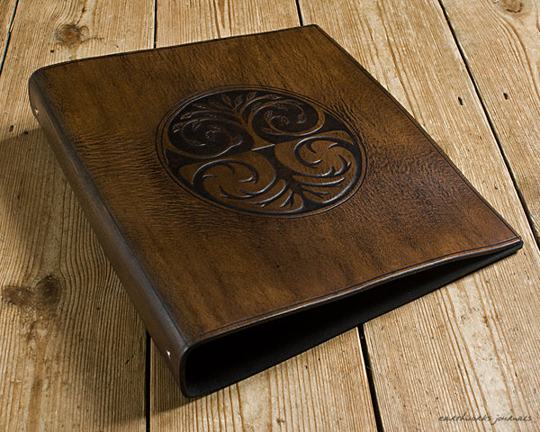 A4 dark brown leather 4 ring binder - tree of life design - earthworks journals A4B015