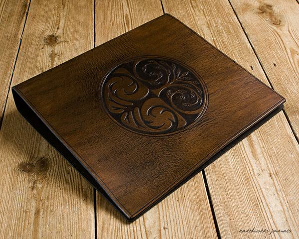 A4 dark brown leather 4 ring binder - tree of life design 2 - earthworks journals A4B015