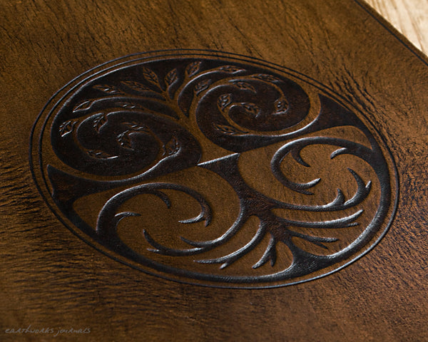 A4 dark brown leather 4 ring binder - tree of life design detail - earthworks journals A4B015
