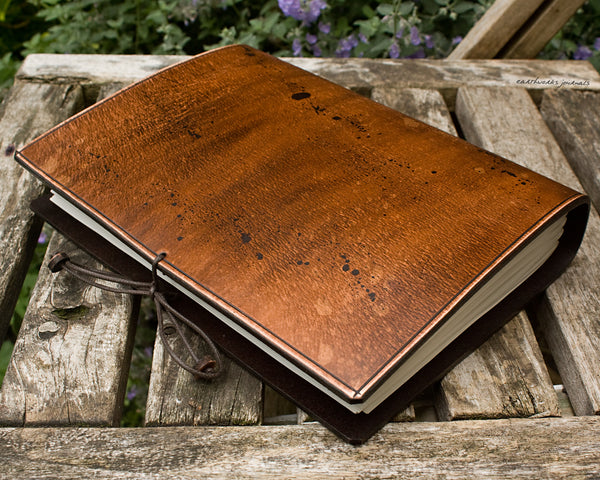 A5 ONE OF A KIND SCRUFFY OLD SCHOOL DISTRESSED LEATHER JOURNAL 4 - OOAK01