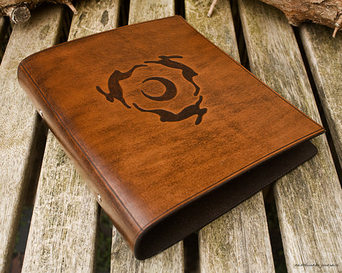 A5 brown leather 2 ring binder - hares and moon design - earthworks journals A5B001