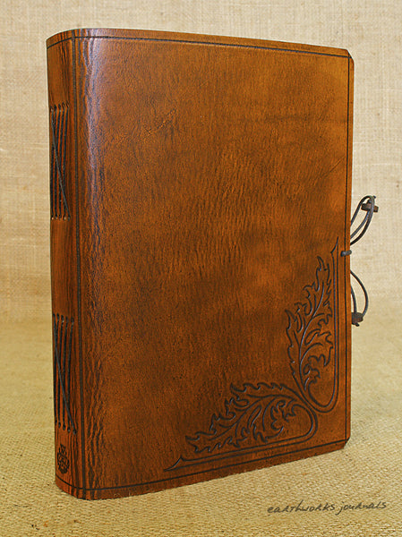 A5 brown leather journal - acanthus leaf 2 - earthworks journals - A5C031