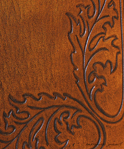 A5 brown leather journal - acanthus leaf detail- earthworks journals - A5C031