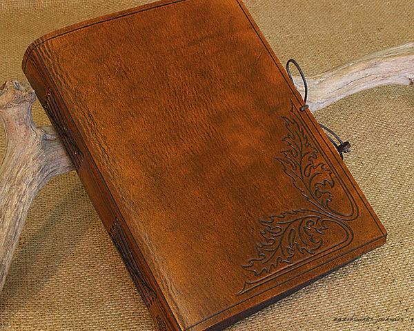 A5 brown leather journal - acanthus leaf - earthworks journals - A5C031