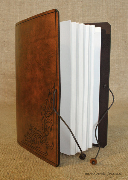 A5 brown leather journal - acanthus leaf open - earthworks journals - A5C031