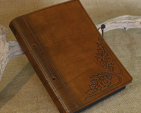 A5 brown leather journal - art nouveau acanthus leaf design - earthworks journals - A5C032