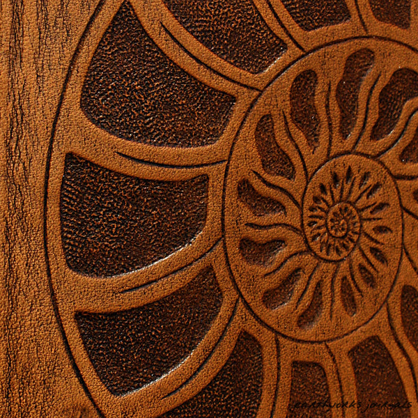 A5 brown leather journal - ammonite detail - earthworks journals - A5C026