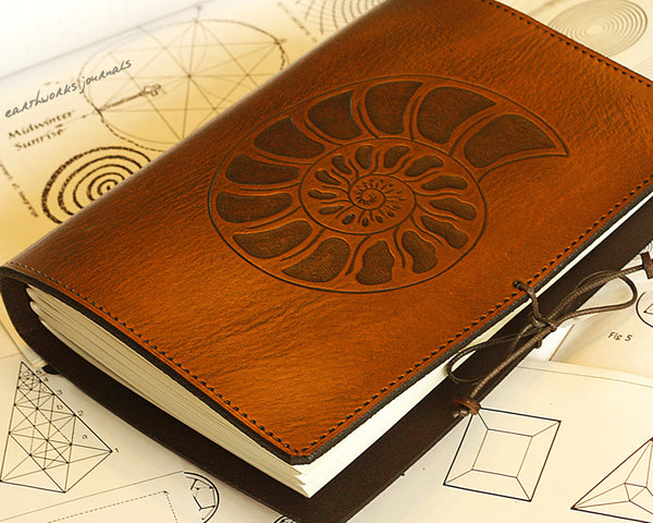 A5 brown leather journal - ammonite - earthworks journals - A5C026