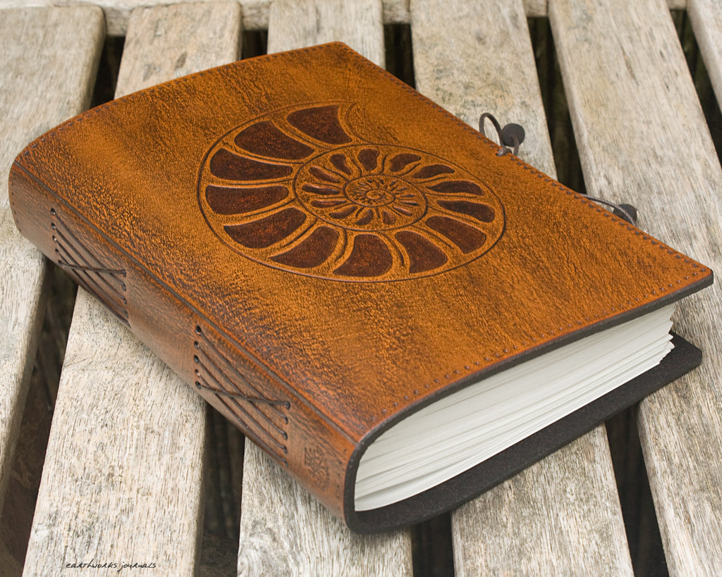 A5 brown leather journal - ammonite 2 - earthworks journals - A5C026