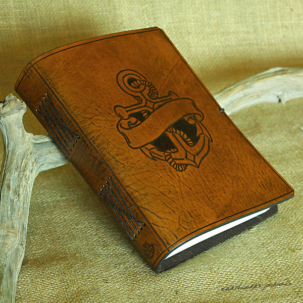 A5 brown leather journal - anchor and scroll design - earthworks journals - A5C037