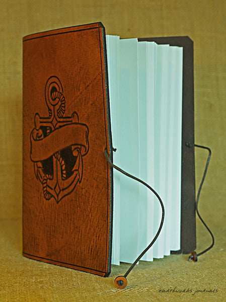A5 brown leather journal - anchor and scroll design open - earthworks journals - A5C037