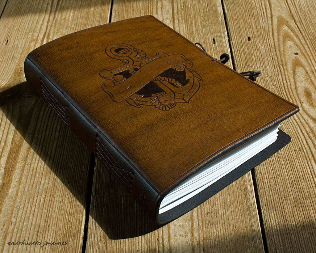 A5 brown leather journal - anchor and scroll design 1 - earthworks journals - A5C037