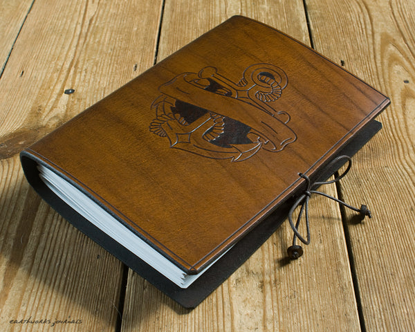 A5 brown leather journal - anchor and scroll design 2 - earthworks journals - A5C037
