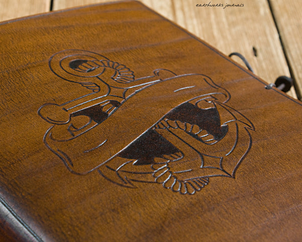 A5 brown leather journal - anchor and scroll design 3 - earthworks journals - A5C037