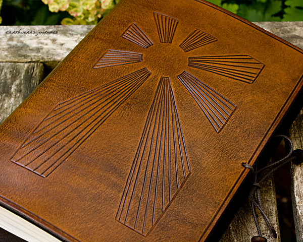 A5 brown leather journal - art deco sun rays detail - earthworks journals - A5C034