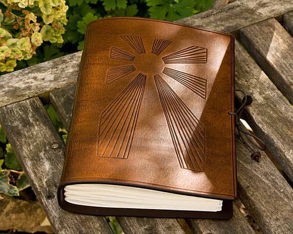 A5 brown leather journal - art deco sun rays 2 - earthworks journals - A5C034