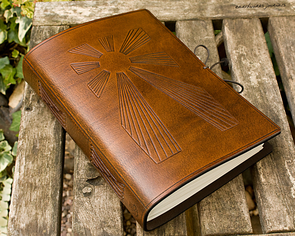 A5 brown leather journal - art deco sun rays - earthworks journals - A5C034