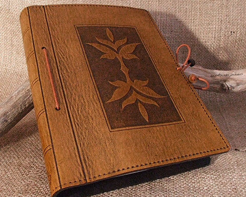 A5 brown leather journal - art nouveau leaf design - earthworks journals - A5C023