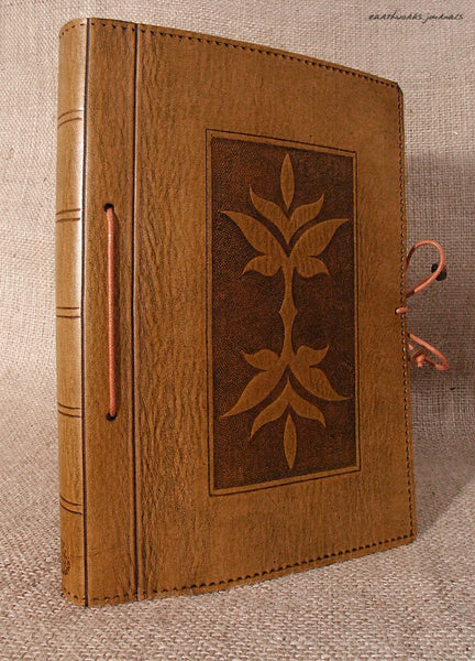 A5 brown leather journal - art nouveau leaf design 2 - earthworks journals - A5C023