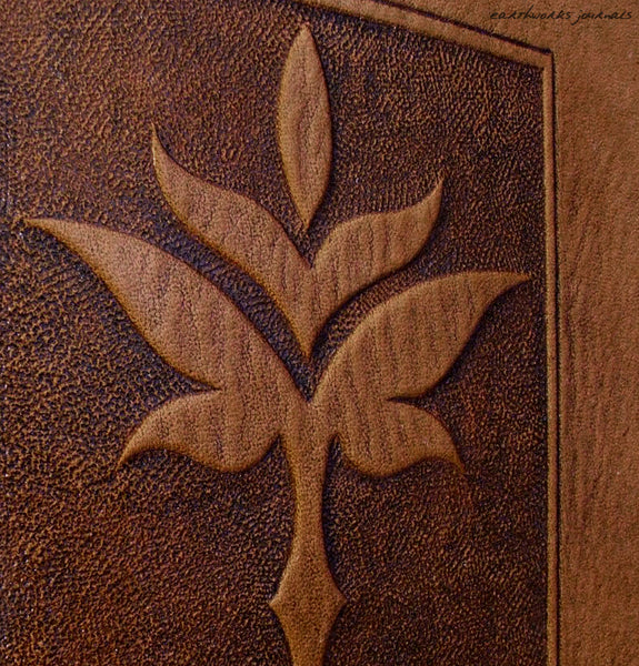 A5 brown leather journal - art nouveau leaf design detail - earthworks journals - A5C023