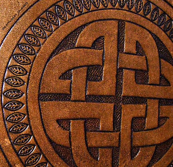 A5 brown leather journal - celtic circle knot design detail - earthworks journals - A5C014