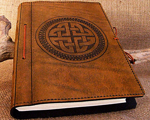A5 brown leather journal - celtic circle knot design - earthworks journals - A5C014